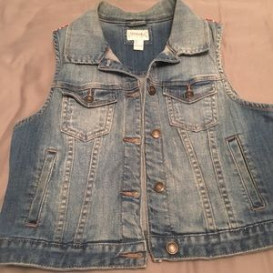Denim Vest with red bandana detail on the back